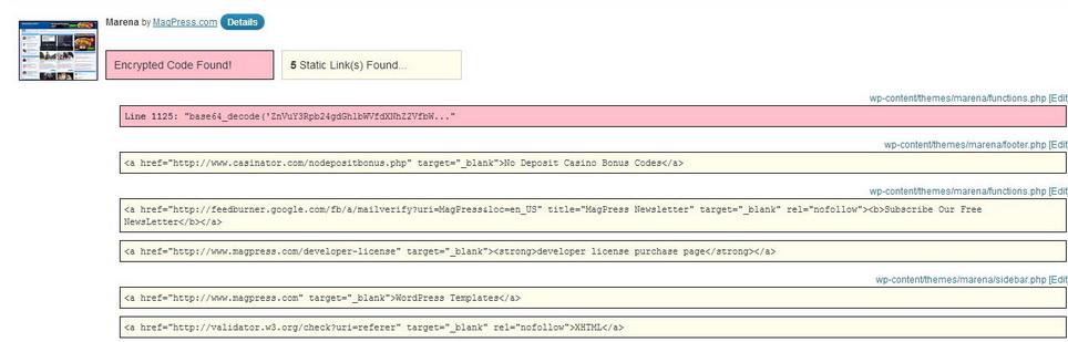 Зашифрованный код в теме Вордпресс